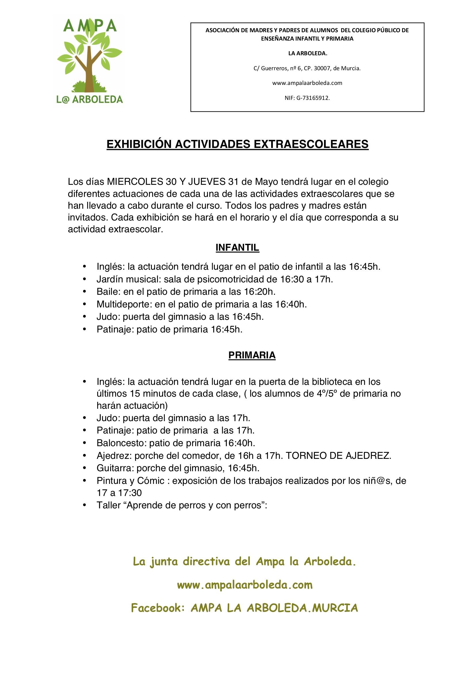 EXHIBICIÓN ACTIVIDADES EXTRAESCOLEARES 2018