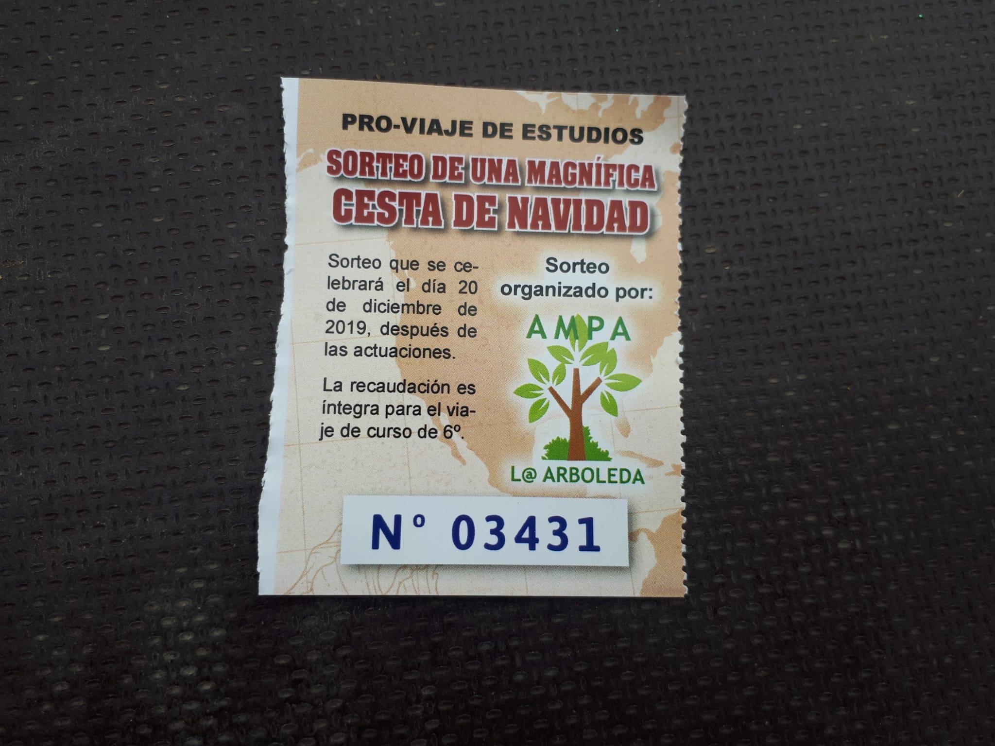 número premiado cesta navidad 2019 AMPA La Arboleda